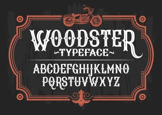 Векторные иллюстрации старинные шрифт, латинский алфавит в ретро-рамку с пользовательских мотоциклов.