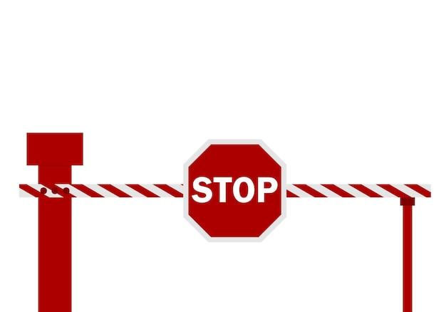 Векторная иллюстрация предупреждающего ограждения барьера в красный и белый цвет. знак стоп.