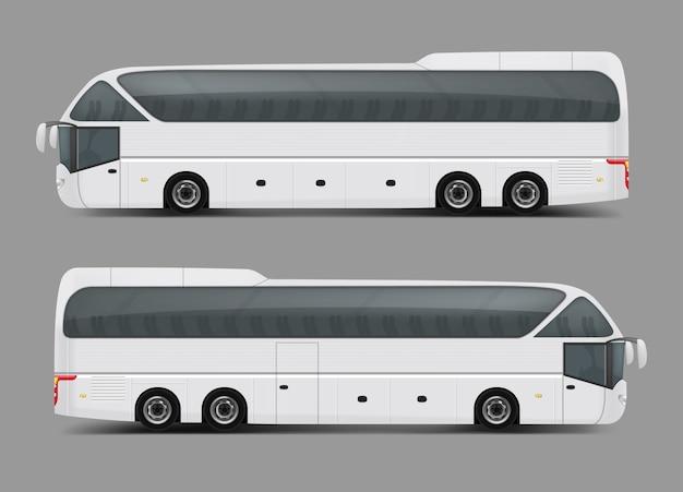 현실적인 스타일의 흰색 버스의 벡터 일러스트 레이션