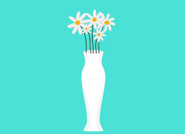 白いヒナギクと白い花瓶のベクトルイラスト。夏の静物