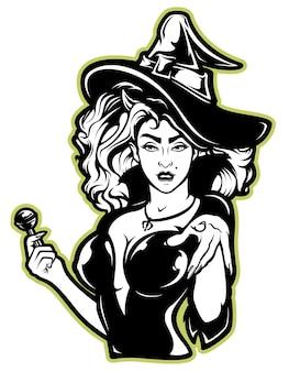 白のハロウィーンの魔女のベクトルイラスト