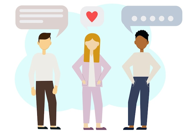 여자와 두 다민족 남자의 벡터 그림. 관계를 가질 여자 선택하기