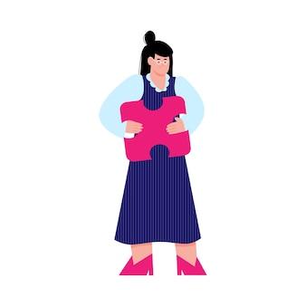 Векторная иллюстрация женщины, держащей головоломку как решение проблемы