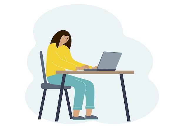 ノートパソコンとワークスペースで女性のベクトルイラスト。オンライン作業または教育の概念