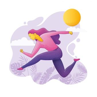 Векторная иллюстрация женщина работает на открытом воздухе