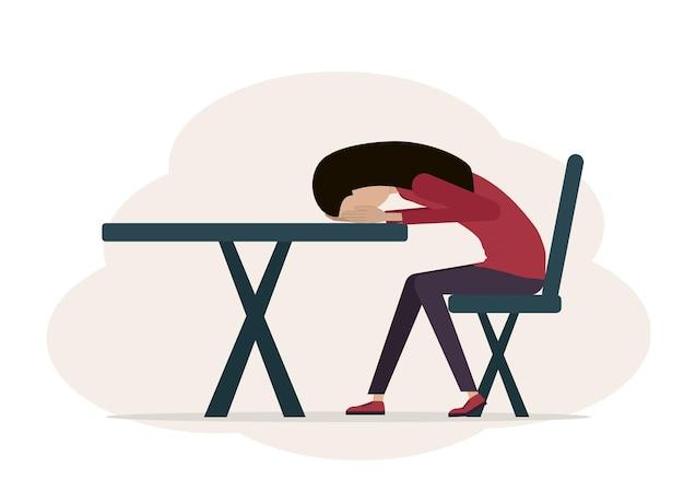 疲れて落ち込んでいる女性のベクトルイラスト。女性は椅子に座って、彼女の頭はテーブルの上にあります