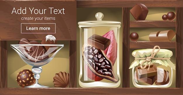 チョコレートと木製ラックのベクトル図
