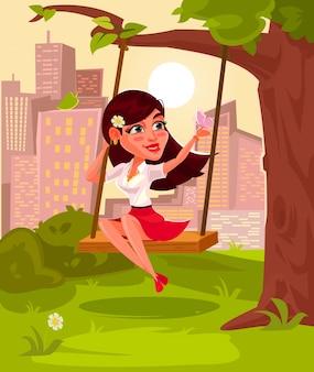 Векторная иллюстрация молодой девушки, сидя на качелях