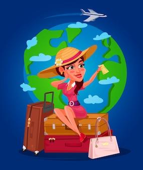 Векторная иллюстрация молодая девушка - путешественник