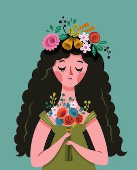 Векторная иллюстрация молодой леди и цветов