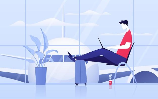 공항 출발 라운지에 노트북을 들고 앉아 있는 젊은 남자의 벡터 그림