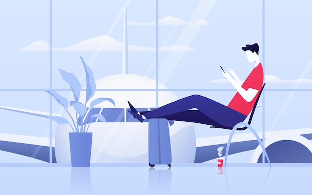 공항 출발 라운지에 전화기를 들고 있는 젊은 남자의 벡터 그림