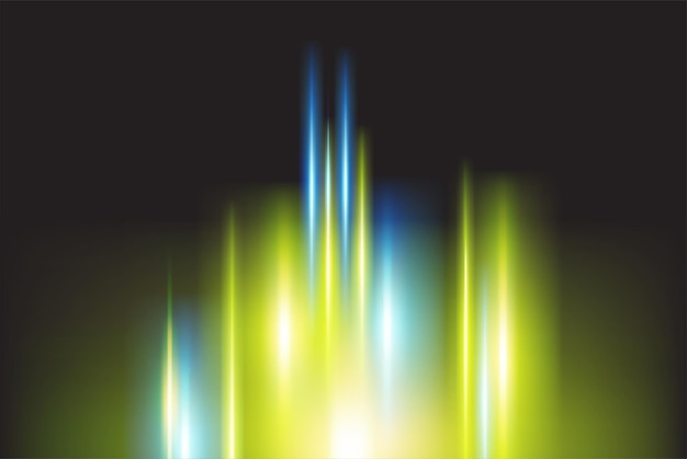 ぼやけた魔法のネオンカラーライトと抽象的な背景のベクトル図