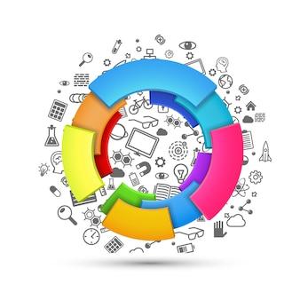 Векторная иллюстрация абстрактной красочной 3d радуги, дизайн логотипа, многие значки