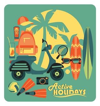 Векторные иллюстрации активных летних каникул.