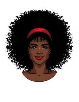 곱슬 머리를 가진 아프리카 계 미국인 유형 여자의 얼굴의 벡터 일러스트 레이 션. 미소와 아름 다운 여자 초상화