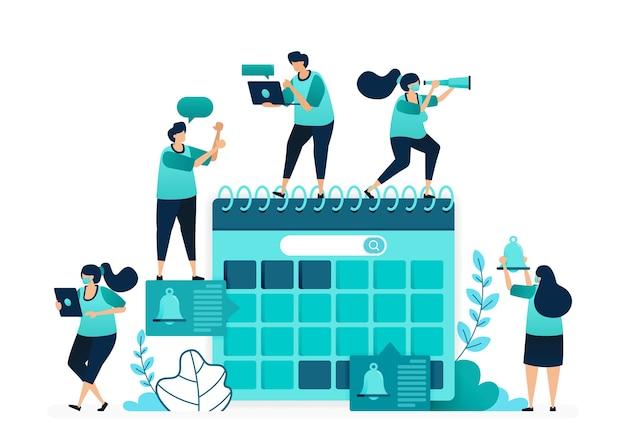 달력에서 의제의 벡터 그림입니다. 일정을 관리하고 작업 적시성 마감일을 계획합니다. 여성과 남성 노동자의 그룹. 웹 사이트, 웹, 랜딩 페이지, 앱, ui ux, 포스터, 전단지 용으로 설계