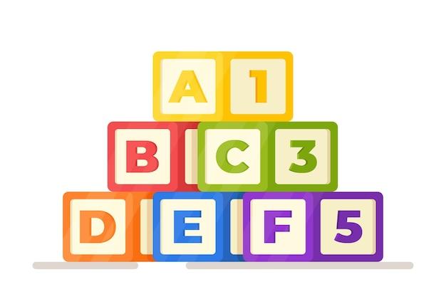 알파벳의 벡터 일러스트 레이 션. 문자와 숫자가 있는 큐브. 주사위에 알파벳입니다. 공부하다. 학교 준비. 교육 게임.