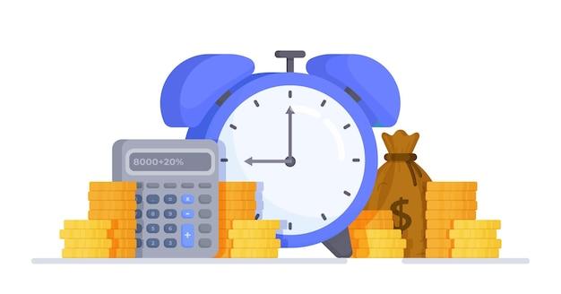 コインの円で9に設定された目覚まし時計のベクトル図実行時間