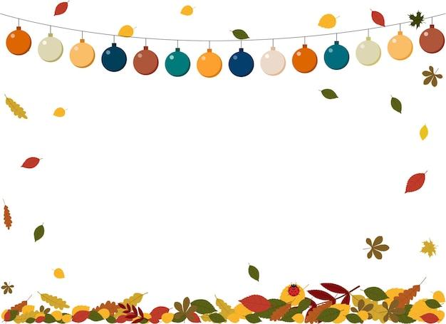화환과 단풍이 있는 가을 전단지의 벡터 그림. 텍스트를 위한 장소