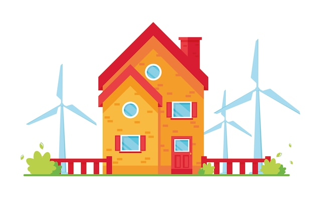 環境に優しい家のベクトルイラスト。風の強い塔。風力エネルギー。自然を気遣う。エコ、エコロジージェネレーター。赤と黄色。緑の自然