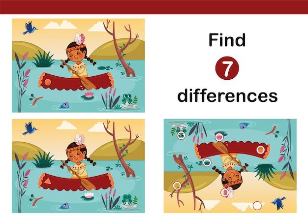 카누를 가진 인도 소녀의 벡터 그림은 아이들을 위한 7가지 차이점 교육 게임을 찾습니다.