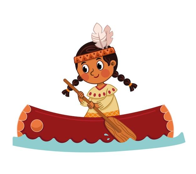 Векторная иллюстрация индийской девушки с каноэ