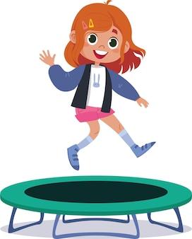 Векторная иллюстрация изолированной девушки прыгает на батуте мультипликационный персонаж ребенок занимается