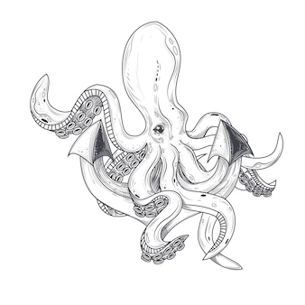 Vector illustration of an octopus hugging tentacles of a ships anchor
