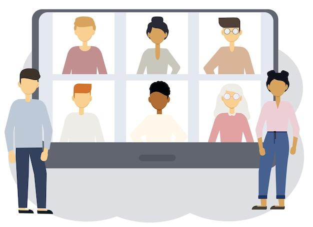 オンライン会議のベクトルイラスト。タブレット画面の横にある女性と男性。さまざまな人物の肖像画が描かれています。