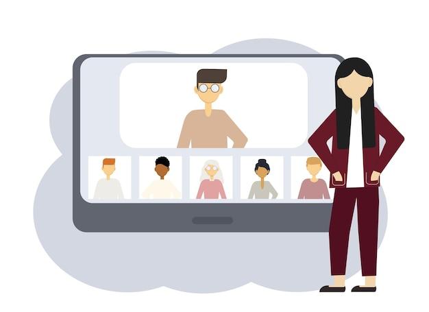 オンライン会議のベクトルイラスト。男性と女性の肖像画を持つコンピューターの隣の女性
