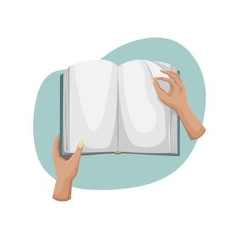 펼친 책의 벡터 일러스트 레이 션. 그 사람은 페이지를 넘깁니다.