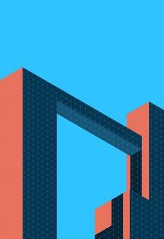 レトロな色と最小限のスタイルで建築カバーのベクトルイラスト