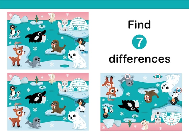 北極圏の動物のベクトルイラスト子供のための7つの違いの教育ゲームを見つける