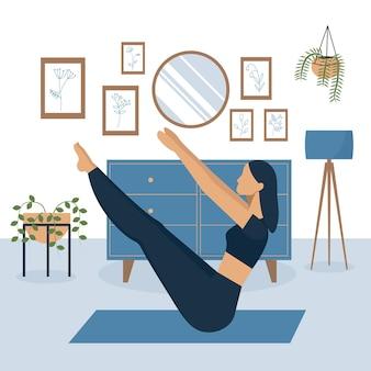 自宅で運動するアジアの女性のベクトル図