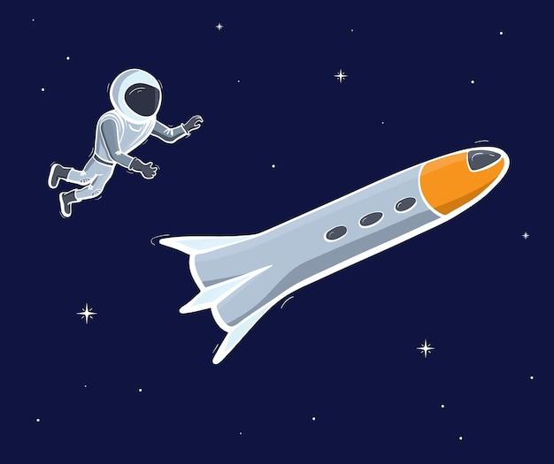 Векторная иллюстрация космонавта, плавающего в космосе. концепция исследования планеты