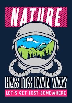 Векторная иллюстрация космонавта шлем с природой и ландшафтом горы внутри него