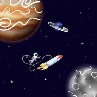 Векторная иллюстрация космонавта с кораблем, плавающим в космосе