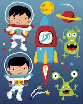 Векторная иллюстрация мультфильма космонавтов в космосе