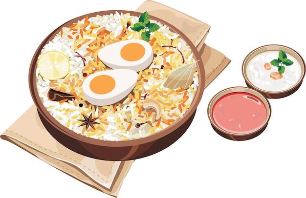 Векторная иллюстрация аутентичного индийского или хайдарабадского яичного бирьяни