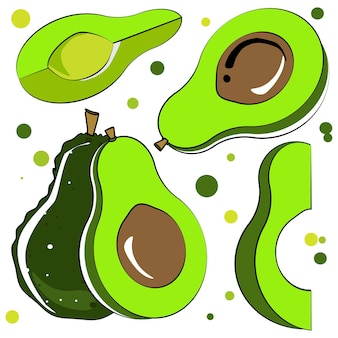 Векторная иллюстрация авокадо. целый и нарезанный авокадо, изолированные на белом фоне.