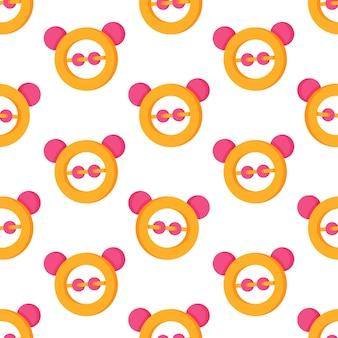 아기 딸랑이 패턴의 벡터 일러스트 레이 션. 아기 딸랑이로 인쇄하십시오. 카펫, 벽지 등을 위한 매끄러운 패턴입니다.