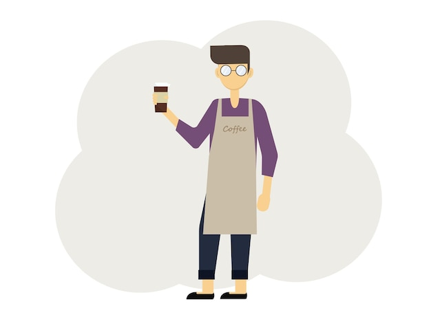 コーヒーのグラスとエプロンと制服を着たバリスタ男のベクトル図