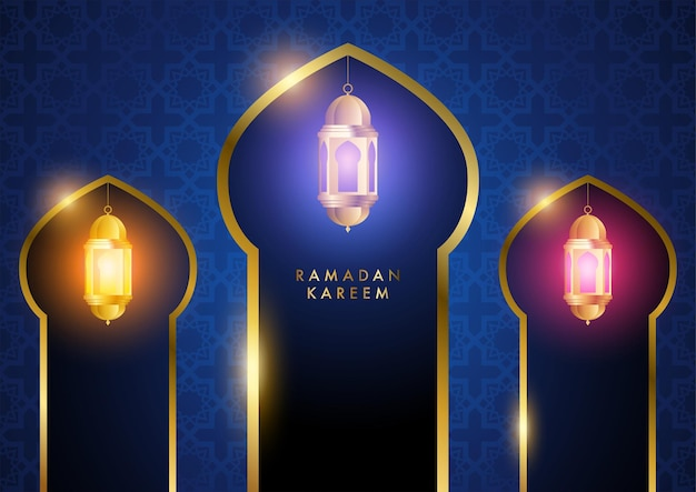 ラマダンカリームテーマの美しいカラフルなランタンのベクトルイラスト