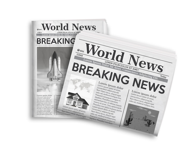 黒と白の新聞レイアウトのベクトルイラスト。