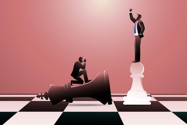 Векторная иллюстрация черный шахматный король ложится и белая пешка встает победителем на шахматной доске с бизнесменом на нем