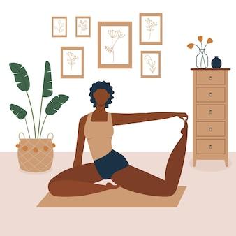 自宅で運動する黒人女性のベクトル図
