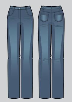 Векторная иллюстрация синих классических джинсов женщины. вид спереди и сзади. мода