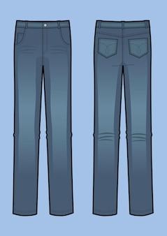 Векторная иллюстрация синих джинсов человека. вид спереди и сзади. классический деним