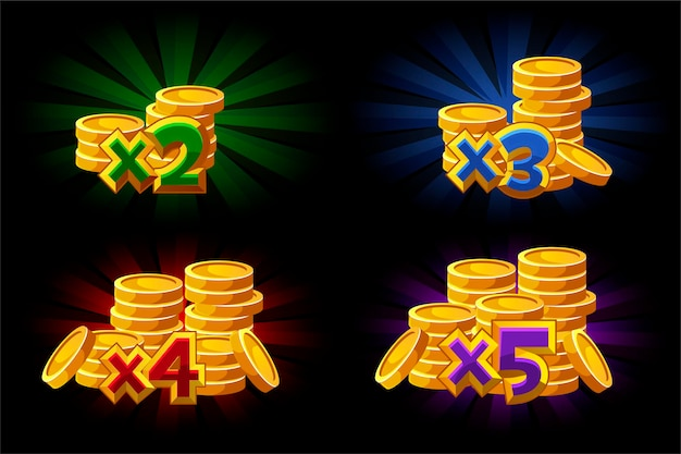 ゲーム内のボーナスx2、x3、x4、x5コインのベクトルイラスト。